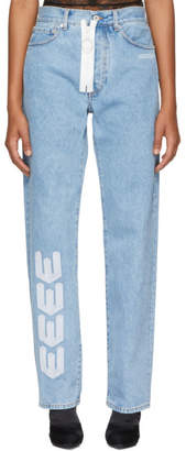 Off-White Off White Blue Embroidered Baggy Jeans