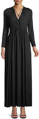 Rachel Pally Tatum Tie-Neck Long-Sleeve Long Jersey Dress