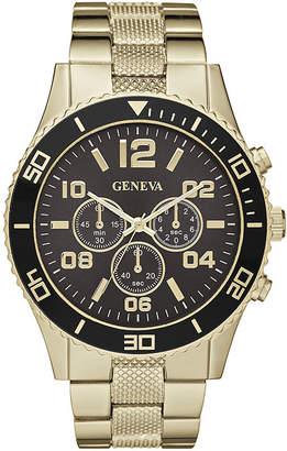 GENEVA Geneva Mens Black Dial Gold-Tone Bracelet Watch