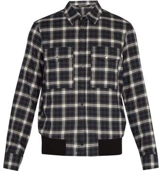 Neil Barrett Checked Cotton Shirt - Mens - Grey