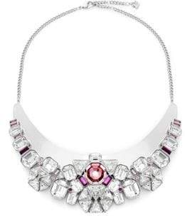 Swarovski Clear & Pink Crystal Bib Necklace