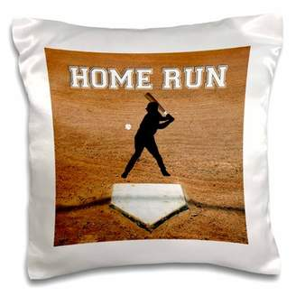 3dRose Baseball Batter at First Plate, Home Run, White - Pillow Case, 16 by 16-inch