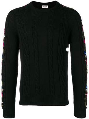 Saint Laurent floral intarsia knit jumper