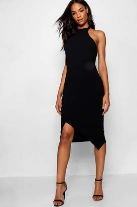 boohoo Tall Racer Neck Bodycon Midi Dress