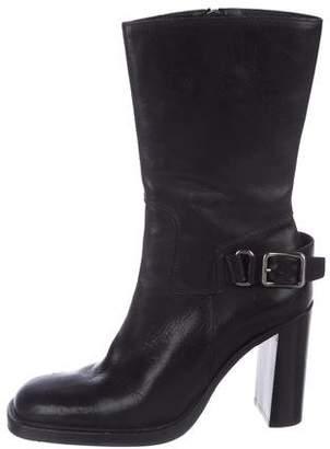 Miu Miu Leather Square-Toe Ankle Boots