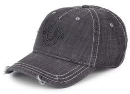 True Religion Distressed Horseshoe Logo Baseball Cap