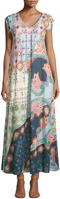 Johnny Was Augustine Printed Cap-Sleeve Long Dress, Multi $279 thestylecure.com