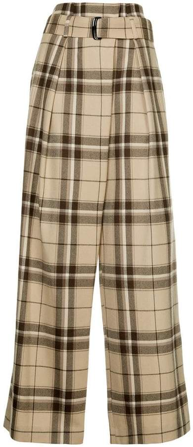 plaid flared trousers