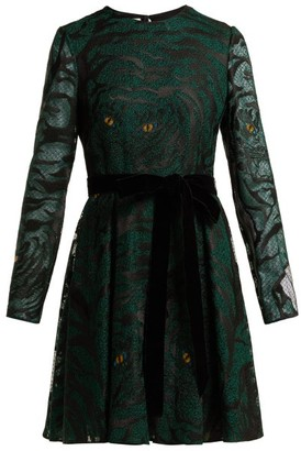 Valentino Animal Eye And Print Embroidered Tulle Dress - Womens - Green Print