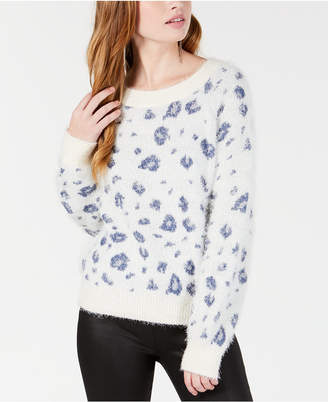 Freshman By Rdg Juniors' Printed Fuzzy Pullover Sweater