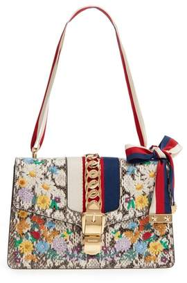 Gucci Small Sylvie Floral Embroidered Genuine Snakeskin Shoulder Bag