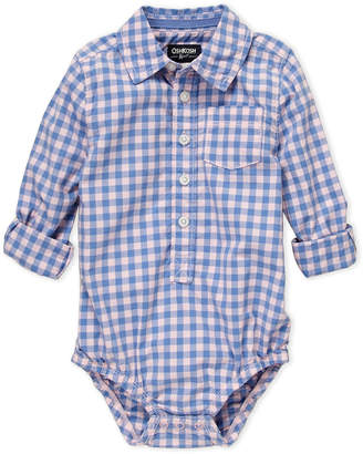 Osh Kosh Infant Girls) Pink & Blue Long Sleeve Check Bodysuit