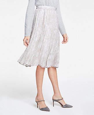Ann Taylor Snakeskin Print Pleated Midi Skirt