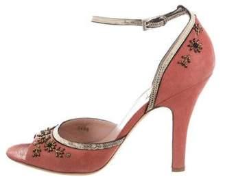 Prada Embellished Peep-Toe Sandals
