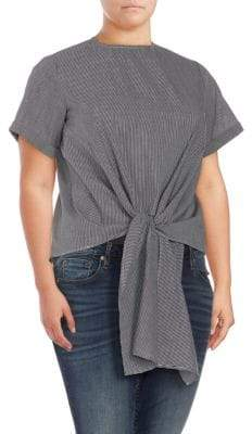 Plus Tie-Front Short-Sleeve Top