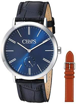 Chaps Men's Dunham Stainless Steel Quartz Watch with Leather Strap