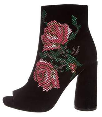 Donald J Pliner Embroidered Suede Peep-Toe Ankle Boots Black Embroidered Suede Peep-Toe Ankle Boots