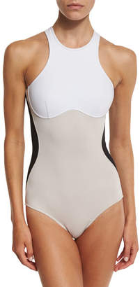 Stella McCartney Stella Iconic Colorblock One-Piece Swimsuit, Black/Stone/White $385 thestylecure.com