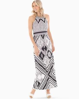 Lace Paisley Printed Maxi Dress Black/White