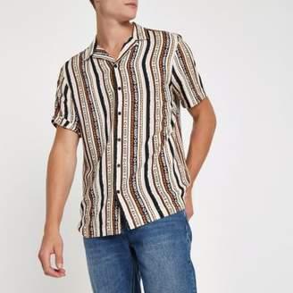 River Island Pink aztec print short sleeve revere shirt