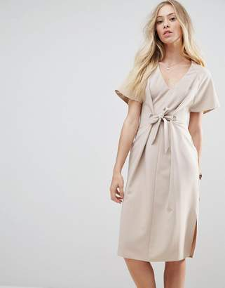 Asos Design V Neck Column Midi Dress with Eyelet and Tie