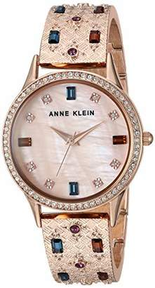Anne Klein Women's AK/3360MTRG Multicolored Swarovski Crystal Accented -Tone Textured Bangle Watch
