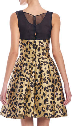 Carolina Herrera Metallic Cheetah-Print Fit & Flare Cocktail Dress