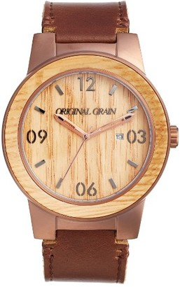 Original Grain The Barrel Leather Strap Watch, 47Mm $199 thestylecure.com