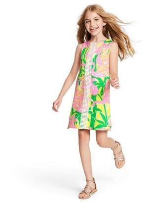 Lilly Pulitzer for Target Girls' Fan Dance Sleeveless Round Neck Shift Mini Dress for Target Pink/Yellow