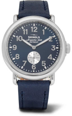 Shinola The Runwell 41mm Stainless Steel and Leather Watch - Men - Blue