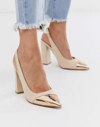 BEIGE Asos Design ASOS DESIGN Password slingback high block heels in rose gold and