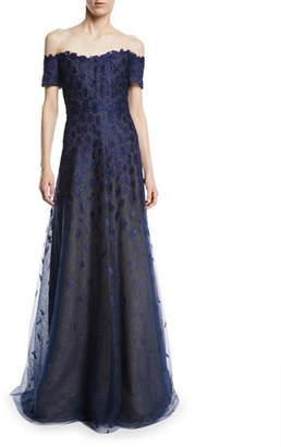 Rene Ruiz Off-the-Shoulder Lace Gown