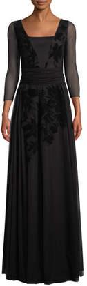 Chiara Boni Elise Illusion-Sleeve Gown w/ Velvet Embroidery