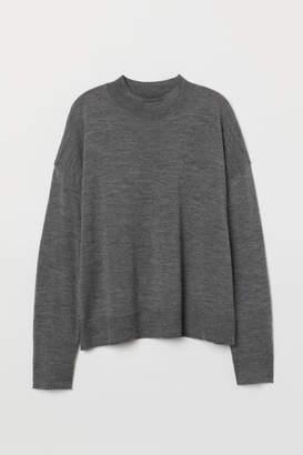 H&M Fine-knit Merino Wool Sweater - Gray