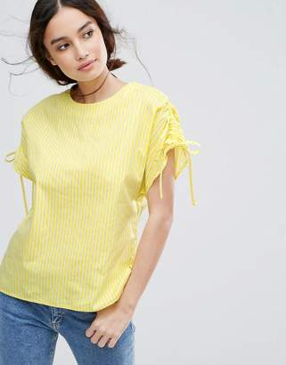 Warehouse Ruched Sleeve Stripe T-Shirt $52 thestylecure.com
