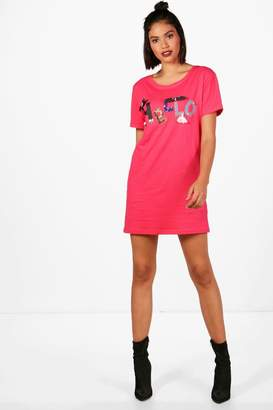 boohoo Hello Embroidered Embellished T-Shirt Dress