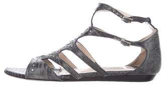 Jimmy Choo Embossed Leather Studded Sandals