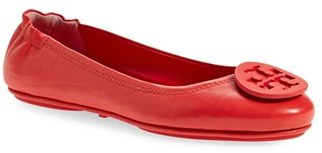 Women's Tory Burch 'Minnie' Travel Ballet Flat With Logo $228 thestylecure.com