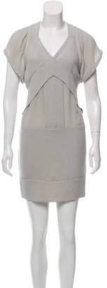 IRO V-Neck Short-Sleeve Dress Grey V-Neck Short-Sleeve Dress