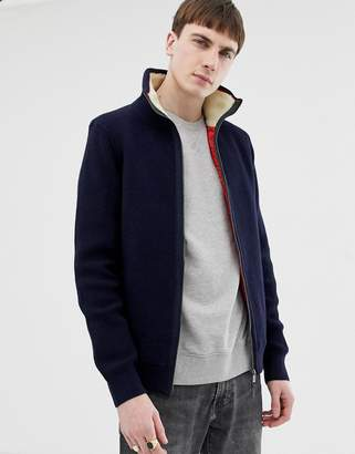 Ted Baker quilted knitted jacket with fleece lined collar in navy