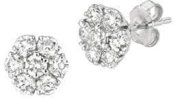 Morris & David Diamond and 14K White Gold Flower Stud Earrings, 2TCW