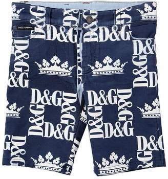 Dolce & Gabbana Logo Print Cotton Blend Sweat Shorts