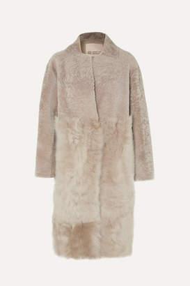 Karl Donoghue Paneled Shearling Coat - Beige