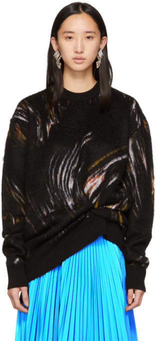 Black Mohair Wave Sweater