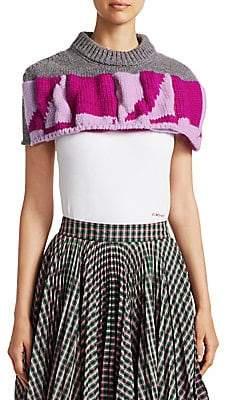 Calvin Klein Women's Quilted Graphic Macro Crop Poncho