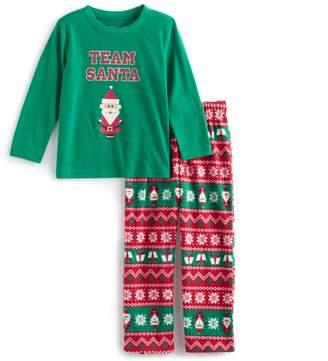 "Toddler Boy Jammies For Your Families ""Team Santa"" Top & Microfleece Bottoms Pajama Set"