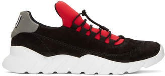 Fendi Black and Red Logo Tab Sneakers