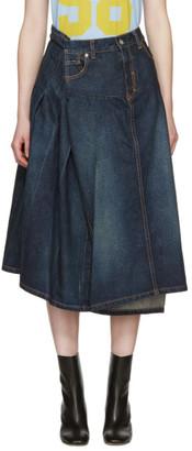 Junya Watanabe Indigo Asymmetric Denim Skirt $635 thestylecure.com