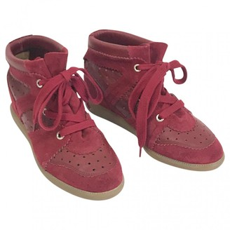 Isabel Marant Betty Burgundy Leather Trainers