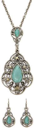 Liz Claiborne Blue Silver-Tone Pendant Necklace and Earring Set